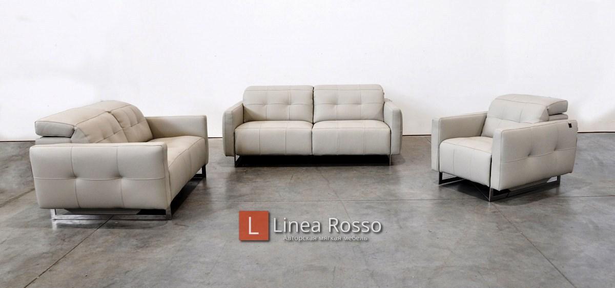 seryj kozhanyj divan - Серый кожаный диван