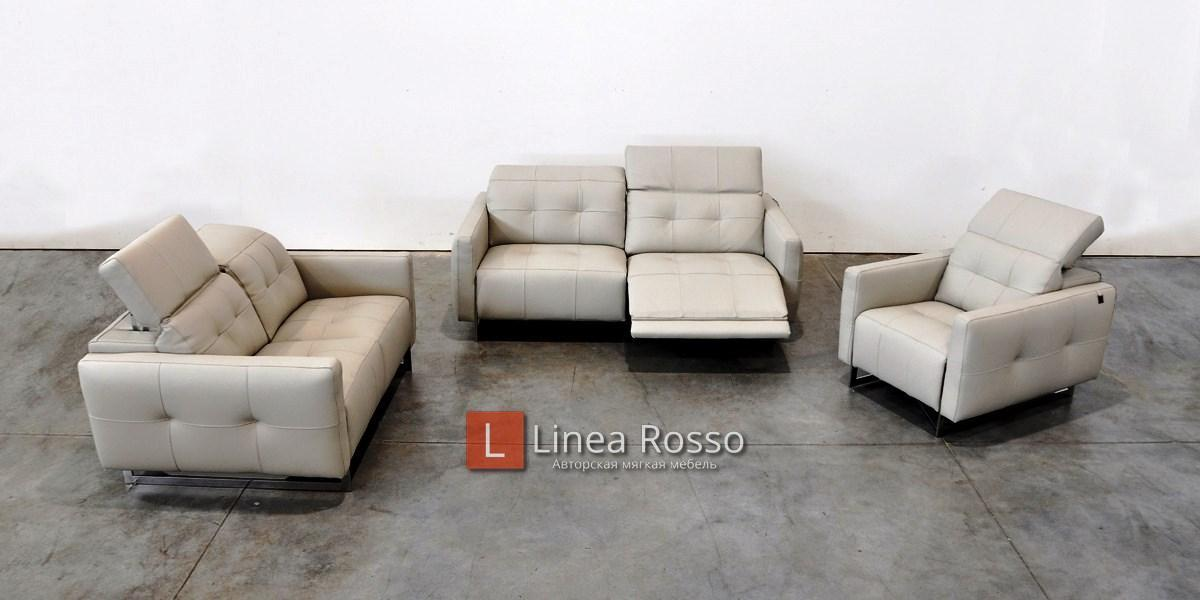 seryj kozhanyj divan1 - Серый кожаный диван под заказ