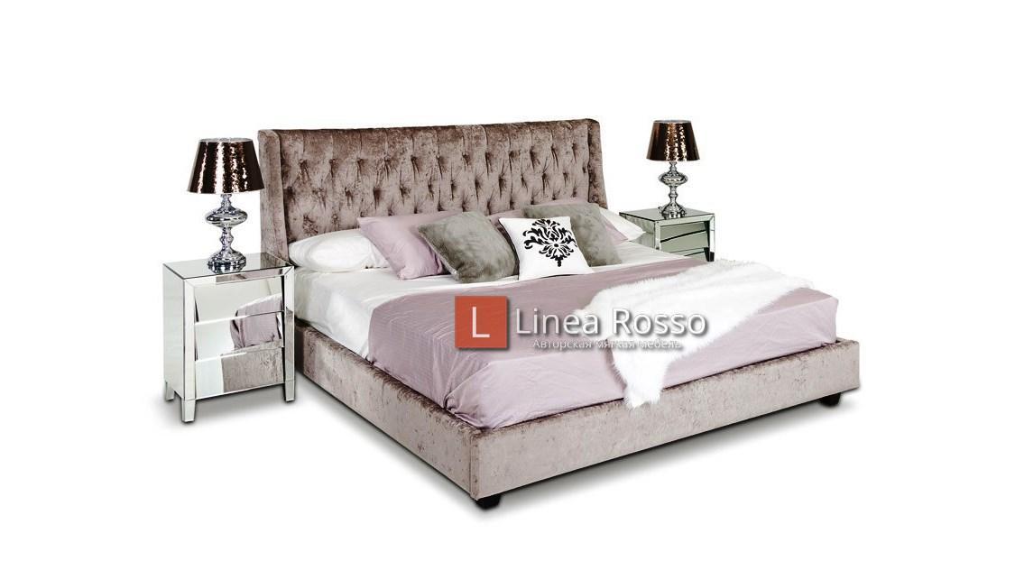 Кровать в велюровой ткани под заказ